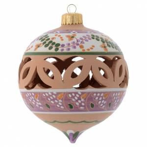 Christmas tree ornaments in wood and pvc: Drilled pointed country ball in terracotta Deruta 100 mm