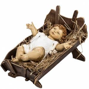 Figury do szopki: Dzieciątko ubrane i kołyska z drewna 125 cm Fontanini
