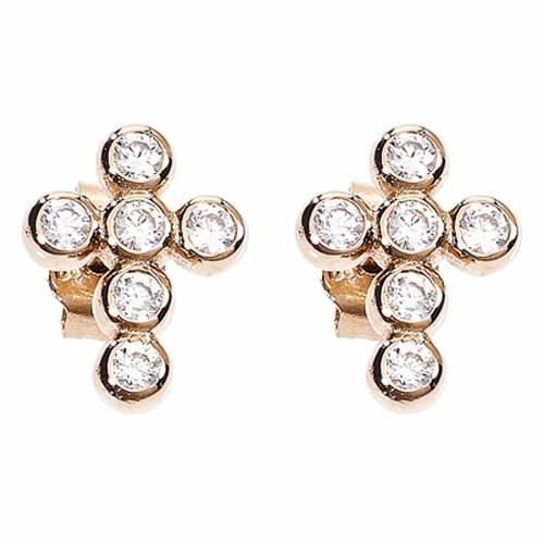 Earrings AMEN Boules zircons, Rosè s1