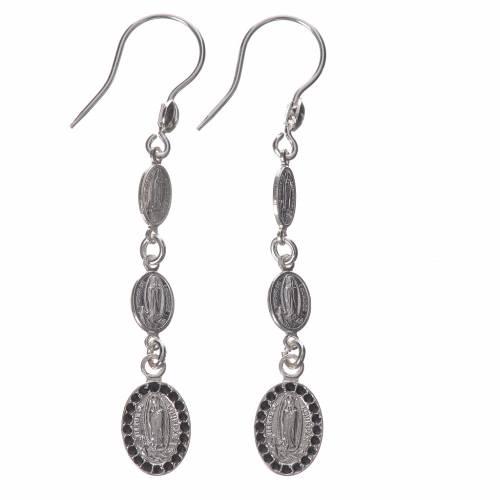 Earrings in 800 silver and black Swarowski, Lourdes s1