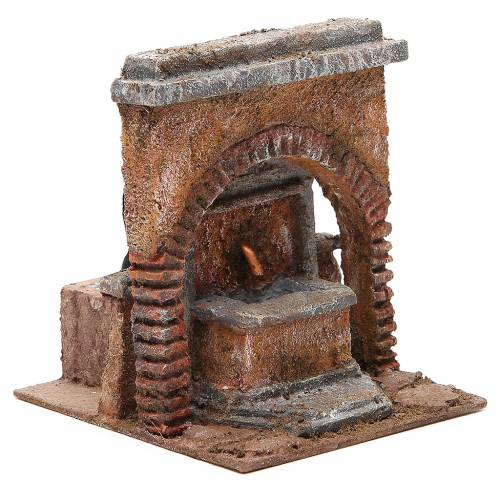 Electric Fountain nativity with arch 18x16x16cm s3