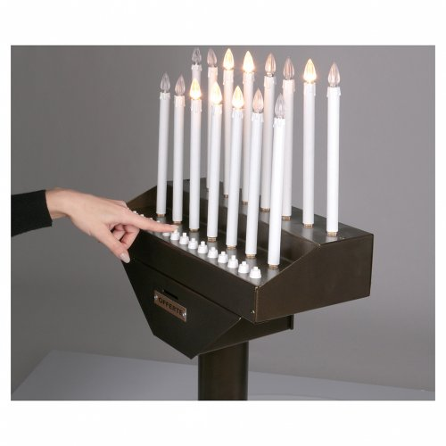 Electric votive offering with 15 candles, 12V lights and buttons s5