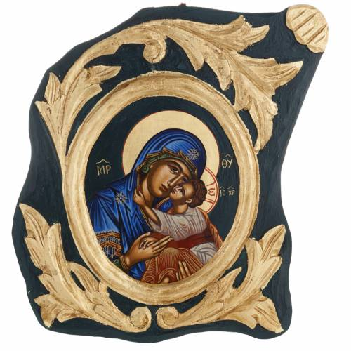 Eleusa Virgin, Greek icon, screenprinted and painted s1