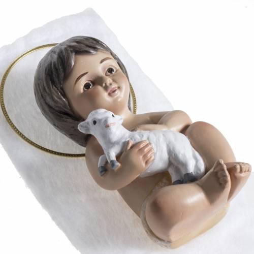 Enfant Jésus avec agneau en plâtre 15 cm s3