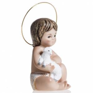 Statues Enfant Jésus: Enfant Jésus avec agneau plâtre 20 cm