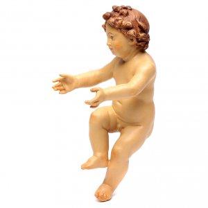 Enfant Jésus en bois coloré avec nuances de brun s2