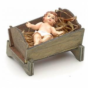 Enfant Jésus et crèche en résine cm 9 s2