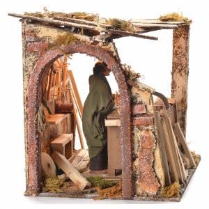 Escena de carpintero de 14cm con movimiento para el pesebre s2