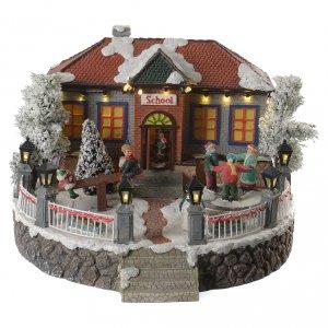 Pueblos navideños en miniatura: Escuela Pueblo Navideño con música 25x25x15 cm