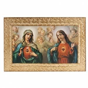 Estampa madera Sagrado Corazón Jesús y Marí s1