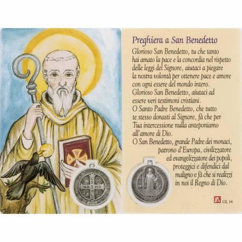 Estampa San Benito con oración plastificado s1
