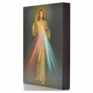 Cuadros, estampas y manuscritos iluminados: Estampa sobre madera 25 x 20 cm Divina Misericordia.