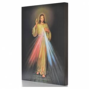 Cuadros, estampas y manuscritos iluminados: Estampa sobre madera Divina Misericordia 40 x 30 cm