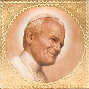 Estampa sobre madera Juan Pablo II s1