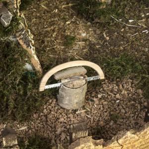 Etable crèche Noel type chalet avec accessoires 40x58x38 s8