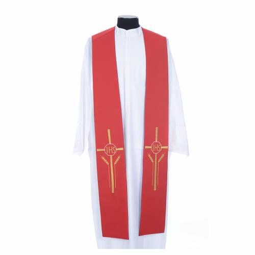 Etole liturgique double face violet rouge IHS épis polyester s1