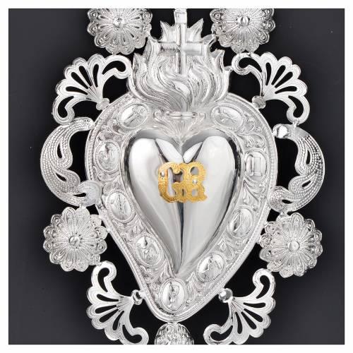 Ex-voto coeur flamme croix 13x20 cm s2
