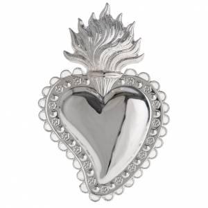 Ex-Voto, coeur votif décor fleurs 10.5x7 cm s1