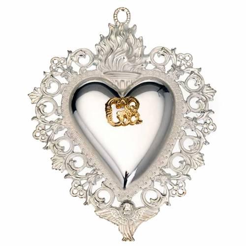 Ex-voto en coeur flamme ange 11.5x8.5 cm s1