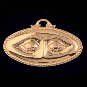 Ex voto occhi lisci argento 925 o metallo 13x6,5 cm s2