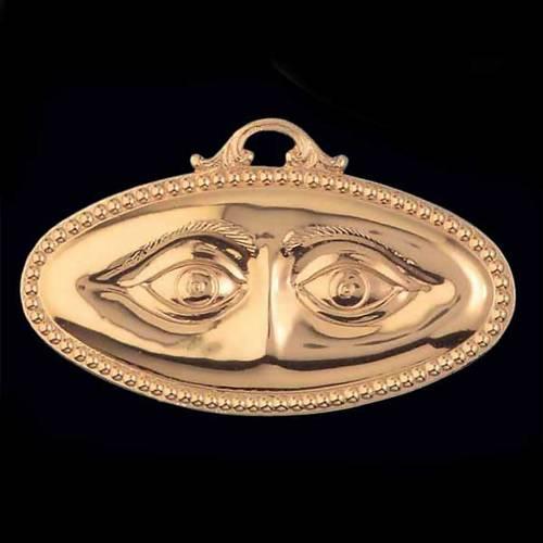 Ex voto occhi lisci argento 925 o metallo 13x6,5 cm 2