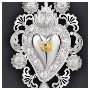 Ex-voto, Votive heart with flame and cross 13x20cm s2