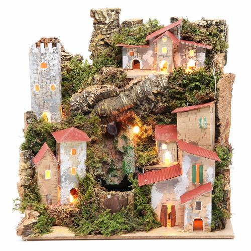 Farmhouse for nativities with waterfall measuring 23x24x21cm s1
