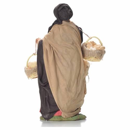 Femme avec paniers de pain 24 cm crèche napolitaine s3