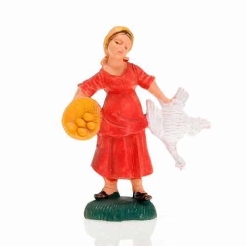 Femme avec poule 8 cm s1