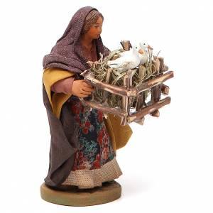 Femme cage 2 oies en main 10 cm crèche Naples s2