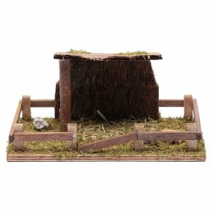 Settings, houses, workshops, wells: Fence with roof for animal statues 5x20x10 cm