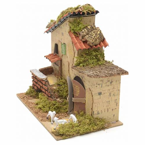 Ferme avec brebis en miniature pour crèche 20x12 s3