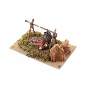 Krippe Öfen und Lagerfeuer: Feuer und Topf für Krippe 15x10cm