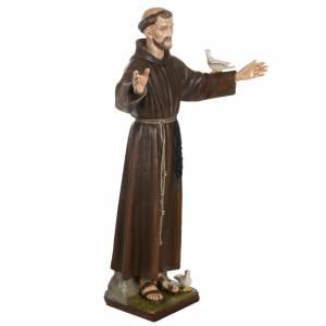 Fiberglas Statuen: Fiberglas Heiliger Franziskus mit Tauben 100 cm