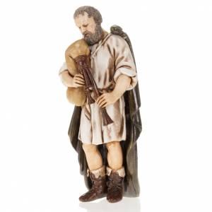 Nativity Scene figurines: Figurines for Moranduzzo nativities, backpiper with cloak 13cm