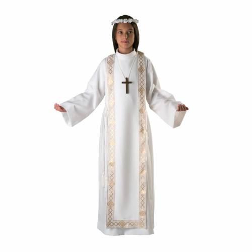 First communion alb for girl scapular golden edges s1