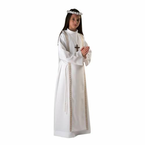 First communion alb for girl scapular thin golden edges s1