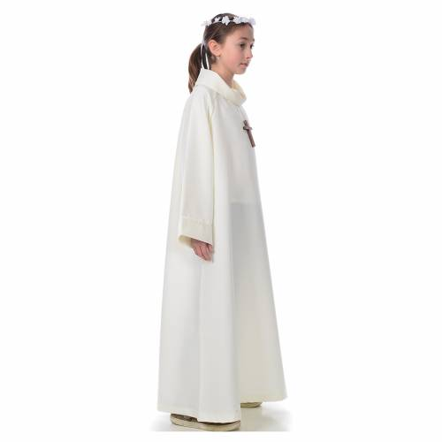 First communion alb, simple model, ivory s4