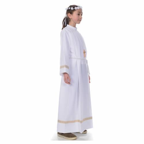 First Communion alb with golden hem s4