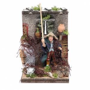 Neapolitan Nativity Scene: Fisherman animated figurine for Neapolitan Nativity, 10cm