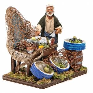Fishmonger with wooden stall, Neapolitan nativity figurine 12cm s4