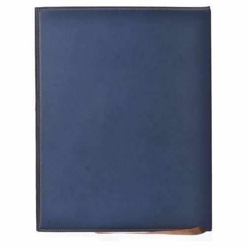 Folder for sacred rites in bleu leather, hot pressed golden lamb Bethleem, A4 size s2