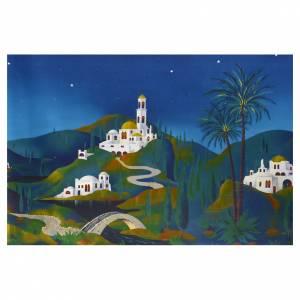 Fondo montaña con casas árabe pesebre 70x100 s1