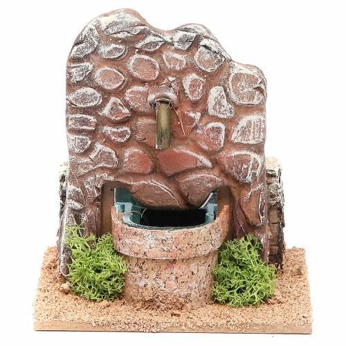 Fontaine crèche en terre cuite 13x12x12 cm s1