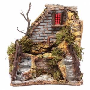 Maisons, milieux, ateliers, puits: Fontaine en coin avec escaliers 18x19x14,5 cm