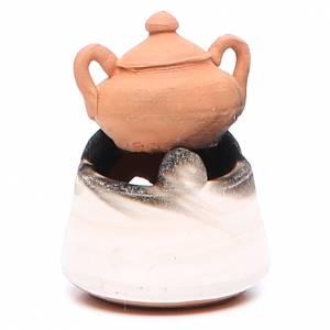 Forno in ceramica per presepe con pentola h. 5 cm s2