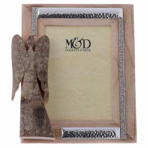 Bonbonnière: Frame with wood and silver in rhinestones with angel in bark 25x21cm
