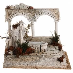 Fuentes: Fuente arabe con columna y arcos para el pesebre