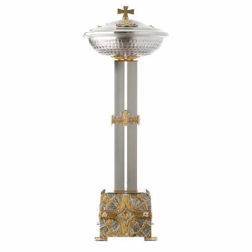 Fuente bautismal de bronce dorado y plateado s1