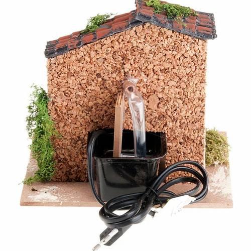Fuente con techo para pesebre, eléctrico de 2V 2
